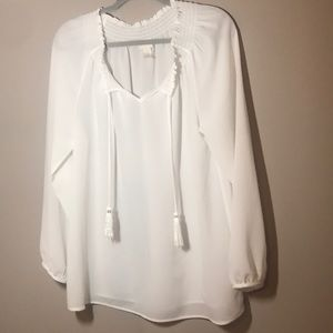 Chico's White Off or On Shoulder Peasant Blouse